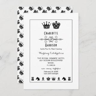 King And Queen Chess Board Game Evening Wedding Invitation