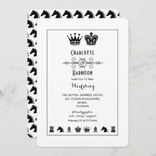 King And Queen Chess Board Game Wedding Invitations