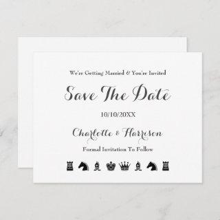 King And Queen Chess Board Game Wedding Save The Date