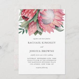 King Protea Watercolor Floral Wedding Invitations