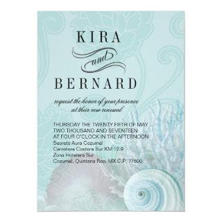 Kira Seashell Dreams Beach Wedding aqua Invitations