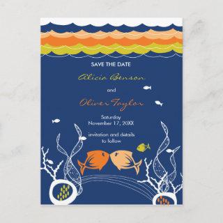 Kissing Fishes Fish Coral Sea Beach Save The Date Announcement Postcard