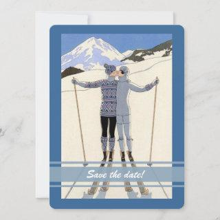 kissing skiers - winter save the date announcement