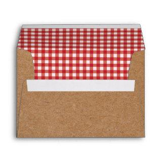 Kraft and Red Gingham Envelopes BBQ Picnic