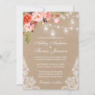 Kraft Coral Floral Jar Lights Lace Wedding Invite