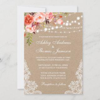 Kraft Coral Floral Lights Lace Wedding Invite