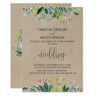 Kraft Foliage with Monogram Wreath Backing Wedding Invitation