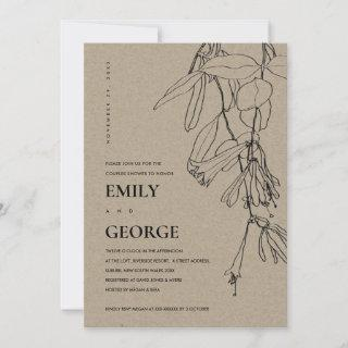 KRAFT LINE DRAWING FLORAL COUPLE SHOWER INVITE