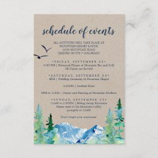 Kraft Mountain Wedding Weekend Schedule of Events Enclosure Card