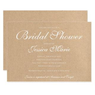 Kraft Recycled Paper Bridal Shower Invitation