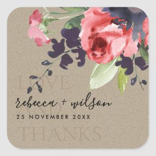 KRAFT RED ROSE FLORAL LOVE AND THANKS WEDDING SQUARE STICKER