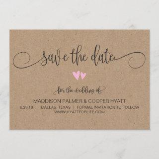 Kraft Rustic Hearts Save the Date