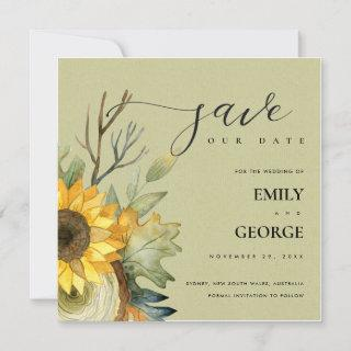 KRAFT YELLOW SUNFLOWER FLORAL SAVE THE DATE CARD