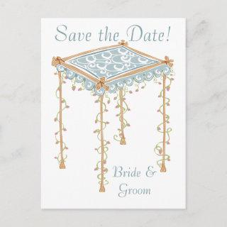 KRW Custom Jewish Wedding Canopy Save the Date Announcement Postcard