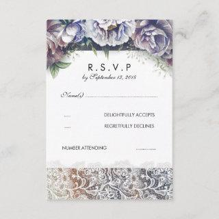 Lace and Vintage Watercolor Flowers RSVP