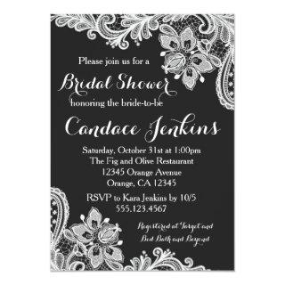 Lace Black and White Bridal Shower Invitations