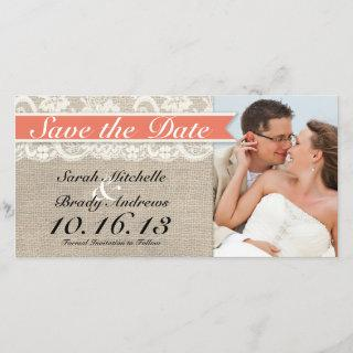 Lace & Burlap Vintage Save the Date - Coral
