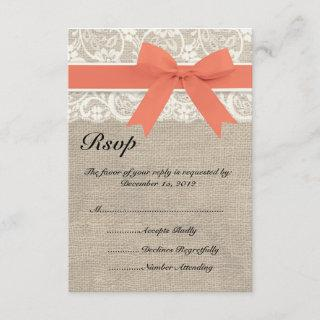 Lace & Coral Ribbon and Burlap Wedding RSVP Card