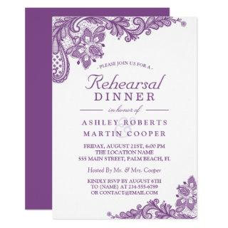 Lace Lavender Purple | Wedding Rehearsal Dinner Invitations
