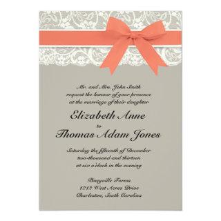 Lace Ribbon Gray and Coral Wedding Invitations
