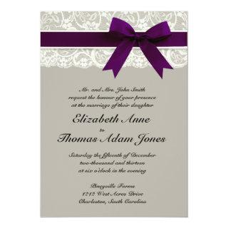 Lace Ribbon Gray and Plum Wedding Invitations