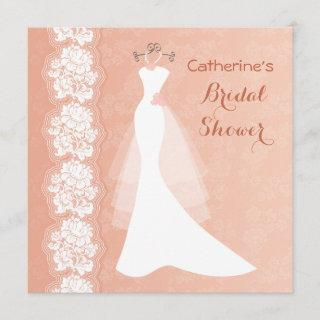 Lace, wedding dress on coral Bridal Shower Invite