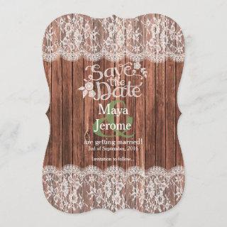 Lace Wood Rustic Country Save the Date Wedding Invitations