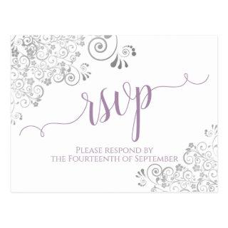 Lacy Calligraphy Lavender on White Wedding RSVP Postcard
