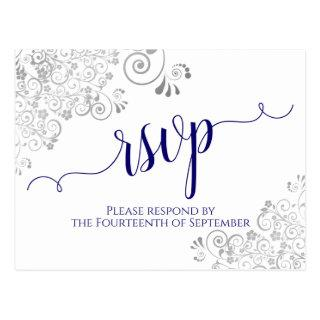 Lacy Calligraphy Navy Blue on White Wedding RSVP Postcard