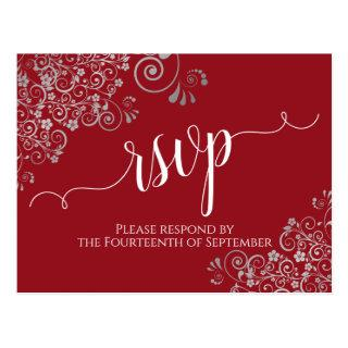 Lacy Calligraphy & Silver Frills Red Wedding RSVP Postcard