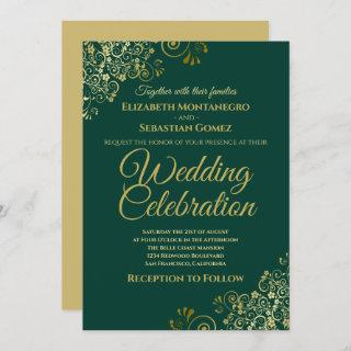 Lacy Gold on Emerald Green Simple Elegant Wedding Invitations