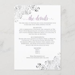Lacy Lavender Calligraphy on White Wedding Details Enclosure Card