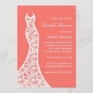 Lacy Living Coral Bridal Shower Invitation