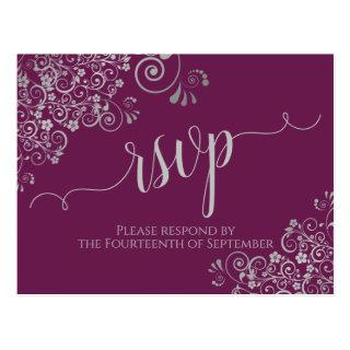 Lacy Silver Calligraphy Cassis Purple Wedding RSVP Postcard