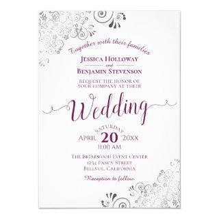 Lacy Silver Elegant Cassis Purple on White Wedding Invitations