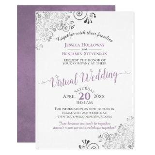 Lacy Silver Lavender & White Virtual Wedding Invitation