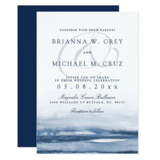 Lake Harbor Fog Wedding Invitation Navy Back