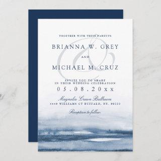 Lake Harbor Fog Wedding Invitations Navy Back