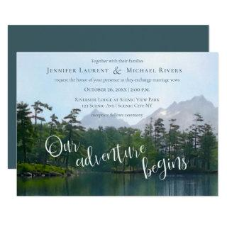 Lake in the mountains our adventure begins wedding Invitations