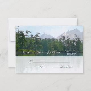 Lake in the mountains rustic nature wedding RSVP card