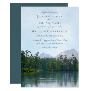 Lake in the mountains rustic wedding Invitations
