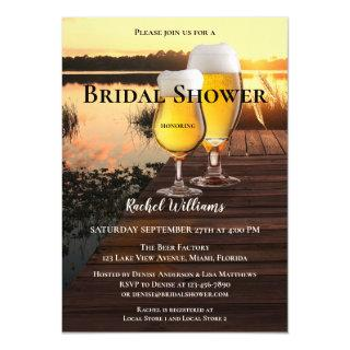 Lake View Sunset Beer Bridal Shower Invitations
