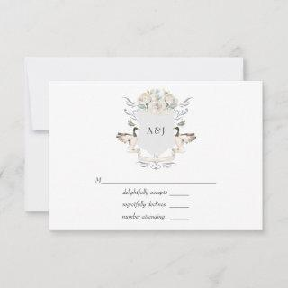 Lakeside Wedding Monogrammed Crest RSVP Card