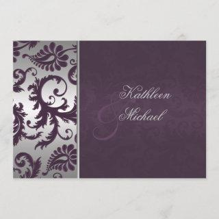 Lapis Purple and Silver Damask Wedding Invitations