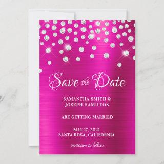 Large Diamond Confetti Hot Pink Ombre Foil Save The Date
