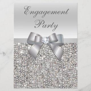 Large Engagement Party Faux Silver Sequins Bow Invitation