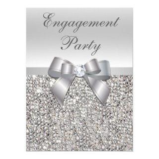 Large Engagement Party Faux Silver Sequins Bow Invitations