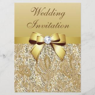 Large Faux Gold Sequins and Bow Wedding Invitations