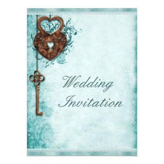 Large Romantic Hearts Lock and Key Teal Wedding Invitation