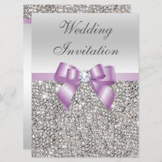 Large Wedding Faux Silver Sequins Lilac Bow Invitations